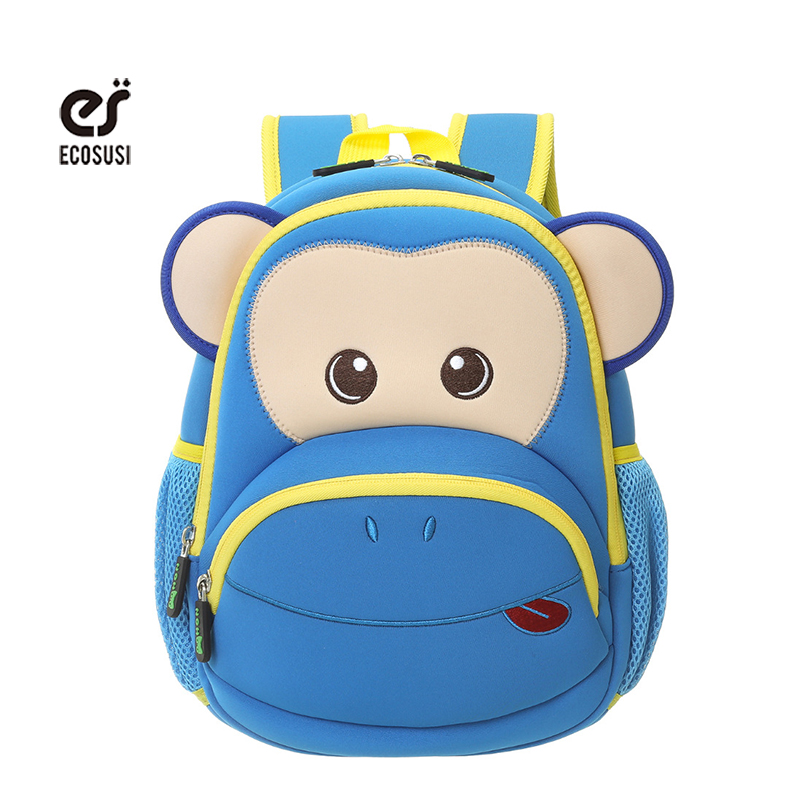 ecosusi Blue Pink Monkey Kids Baby Cartoon Waterproof School Bags 3D Animals Backpack For Girls Boys School Bags For 2-6 Baby<br><br>Aliexpress