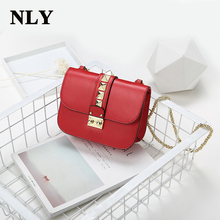 2017 Fashion Pyramid Rivets Lock Stud Chains Women Leather Shoulder Crossbody Bags