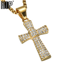 HIP Hop Ice Out Micro Pave Full Rhinestones Gold Color Stainless Steel Christian Cross Pendant & Necklaces for Men Jewelry(China)