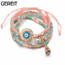 Handmade Multilayer Plastic Crystal Beads Elastic Bracelet Gold Tower Evil Eye Charms Bracelets & Bangles Women Jewelry JB16046