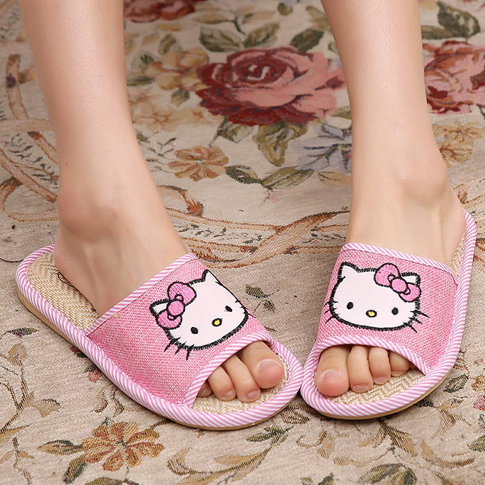 New  hello kitty Sandals Flip Flops home slippers pattern shoes women cute indoor slipper soft summer house shoes plush shoes<br><br>Aliexpress