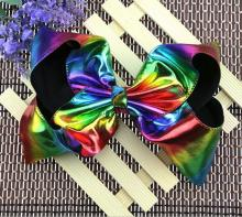 Hot 8 Inch Girls' Large Leather Hair Bow Gradient Laser Hairclips Handmade Children's Stylish Headdress Rainbow Hair Accessories
