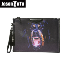JASON TUTU Men clutch bag IPad package printing Animal Prints Dog logo clutches high quality evening clutch bags B201