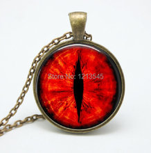 1 pcs red Dragon Cat Eye Necklace Pendant Fantasy Picture Photo Art Handmade Jewelry glass Cabochon Women Necklace FTC-51