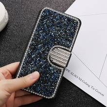 KISSCASE Leather Wallet Case For iPhone 7 6s 6 Plus 5s 5 SE Luxury Glitter Bling Crystal Diamond Card Slots Cover For iPhone 7 6(China)
