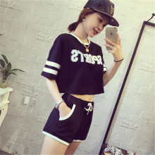 two piece set 2016new fashion printing Letter Slim Thin Parallel bars motion 2 piece set women harajuku shirt women(China)