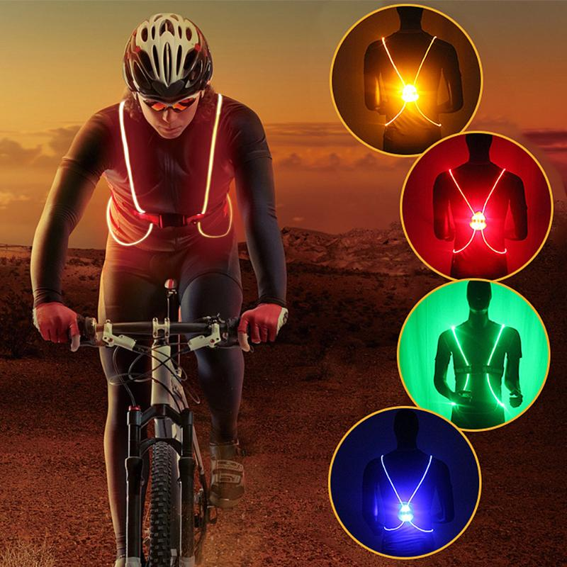 Reflective Reflective Cycling Vest Belt LED Lights Unisex Adjustable Running Cycling Safety Jacket High Visibility Vest