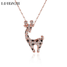 LPHZQH fashion beautiful crystal cute giraffes pendant necklace chain choker necklace women Collar charm accessory jewelery gift(China)
