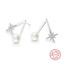 Snowflake Stud Earrings Pure 925 Sterling Silver Imitation Pearl Jewelry Classic Micro Clear CZ Stone for Girls Ladies DE554