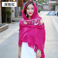 long big embroidered hijab scarves floral viscose shawl ethnic japanese Bandana for Ladies women high quality