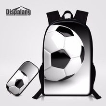Dispalang Cute Kids Pencil Case 2PCS/Set Schoolbag Soccers Footballs Children School Backpack Women Book Bag Travel Knapsack(China)