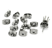 FUNIQUE 50Pairs Silver Tone Stainless Steel Ear Nut Clutch Earring Stoppers Post Stud earrings Backs DIY Jewelry Findings 7x4mm(China)