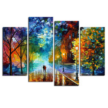 Cuadros Decoracion Walking In The Quiet Street Canvas Printings For Living Room  4Pcs Wall Painting Modern Arts cuadros modernos