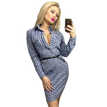 Autumn Plaid Dresses 2017 Long Sleeve Leisure Vintage Dress Fall Women Check Print Spring Casual Shirt Pocket Mini Vestidos