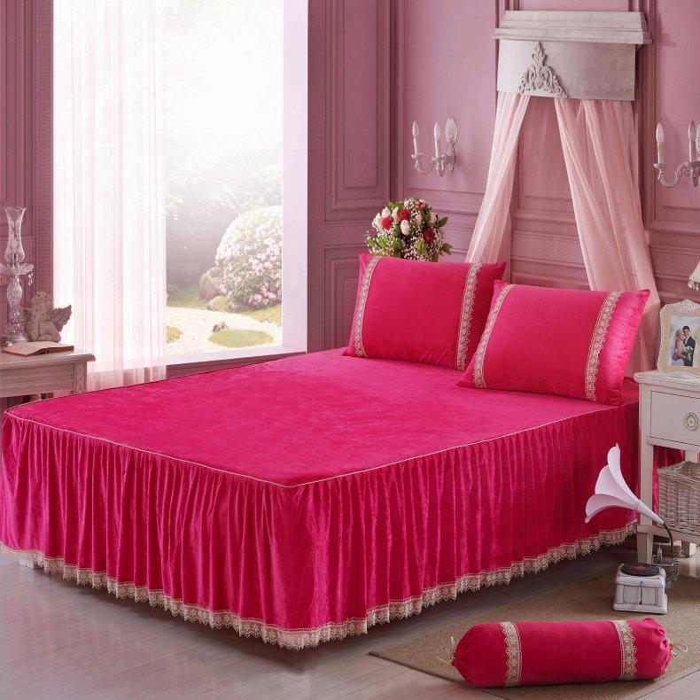 3Pcs Fleece Bed Skirt Set W/ Pillowcases, Mattress Protective Cover 46