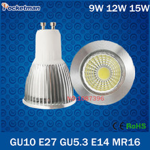 Wholesale Super Bright GU10 GU5.3 E27 E14 MR16 Dimmable Led COB Spotlight light lamp 9W 12W 15W AC 110v 220v 240v