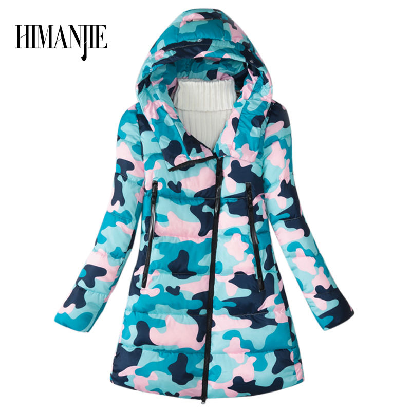 2017 Winter Woman Mid-length Camo Stars Camouflage Hooded Jackets and Coats Femme Oblique Zipper Parkas PaddedÎäåæäà è àêñåññóàðû<br><br>