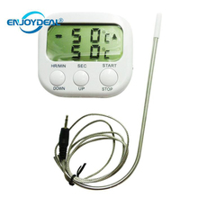 Digital LCD Display Food Thermometer Timer Cooking Kitchen BBQ Meat Probe(China)