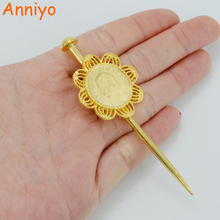 Anniyo Length 8.3CM Ethiopian Coin Hair Pin For Women/Girl Gold Color Habesha Jewelry Eritrea Hair Piece Head PCS #046406