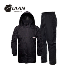 QIAN RAINPROOF Professional Outdoor Raincoat Hidden Rainhat Thicker Mesh Lining Safety Reflective Tape Design Super Rainsuit