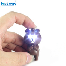 Cute Bears Key Chain Naughty Creative Mobile Phone's Accessories LED & Flashlight Women Handbag Charms Fit Car Ring Holder(China)