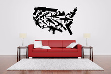 Machine Gun Set Rack Wall Sticker DIY Self-Adhesive Vinyl Art Sticker Mural Decal Weapon Gaming room Sofa Background Decor LA288(China)