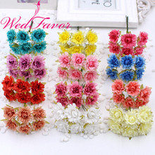 60pcs 2.5cm Mini Artificial Chrysanthemum Silk Rose Flowers For DIY Wreath Box Scrapbooking Boutonniere Wrist Flower Accessories