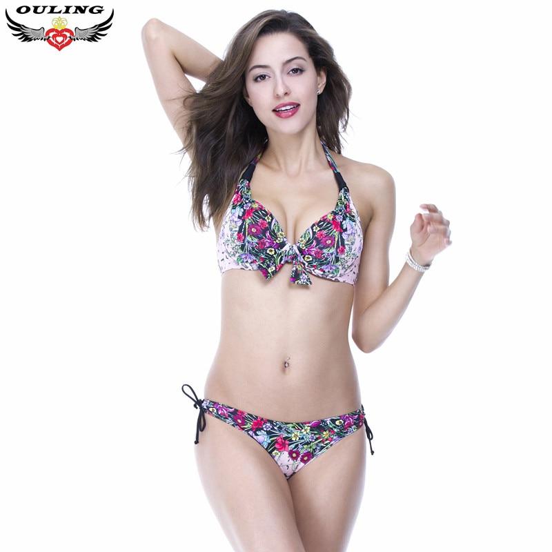 Large size swimwear women floral bkini set push up padded bra swimsuit sexy Mid waist bathing suit brazilian summer style xxL<br><br>Aliexpress