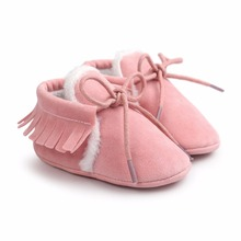 Baby Moccasins Infant Soft Moccs Shoes Bebe First walkers Fringe Soled Non-slip Footwear Crib Shoes PU Leather(China)