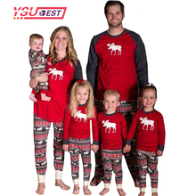 2017 New Family Christmas Pajamas Mother Father Baby Clothes Family Look Outfits Cotton Long-sleeve Deer Family Set Pajamas Suit