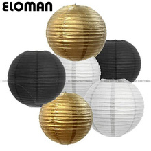 ELOMAN 20-40cm gold silver China Paper Lantern Festival Supplies Birthday Wedding Party decor gift craft DIY Lampion Lantern(China)