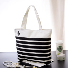 Stripe navy Women Canvas bag women Shoulder tote Bags