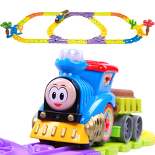 Children's Creative Toys Electric Flashing Trains Model Slot Thomas And Friends Track Set Trackmaster Miniature Vehicles Gifts(China)