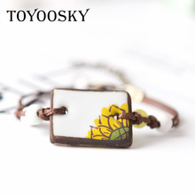 TOYOOSKY Newest Plant Sunflower Watermelon Woven Ceramic Bracelets& Bangles for Student Jewelry Accessories Adjustable