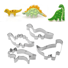 4PC/Set Cartoon Stainless Steel Patisserie Cake Mold Decorating Pastry Cookie Cutter Animal Dinosaur Molds Cartoon Cake Tools
