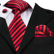 SN-219 Red Black Striped Tie Hanky Cufflinks Sets Men's 100% Silk Ties for men Formal Wedding Party Groom(China)