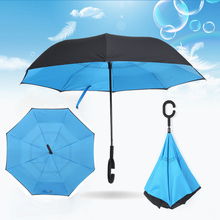 Hot Sales Folding Double Layer Colorful Inverted Chuva Umbrella Self Stand Inside Out Rain UV Protection C-Hook Hands Windproof