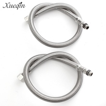 "Xueqin 2pcs 50cm 304 Stainless Steel Flexible 9/16"" Water Line Hoses Kitchen Faucet Tap Replace Inlet Hoses"