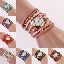 Hot Marketing Ladies Fashion Casual Wrist Watch Leather Strap Braided winding Rivet Bracelet Womens Quartz Watch Montre Femme(China)