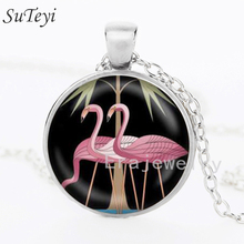 Art Nouveau Pink Flamingo Bird Pendant Necklace or Keyring Glass Art jewelry statement necklace