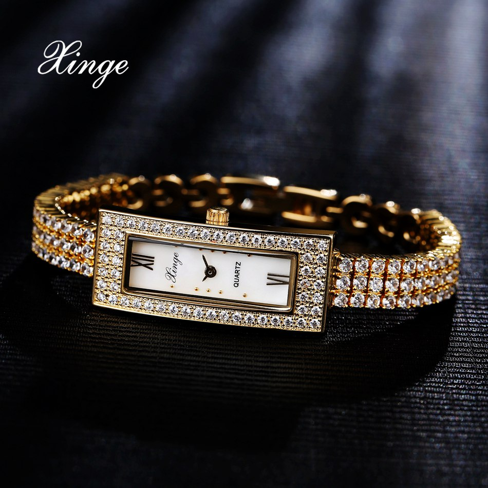 Xinge Top Brand Luxury Women Bracelet Watch Stainless 3A Zircon Crystal Quartz Watch Women Dress Business Fashion WristWatch<br>
