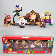 Free Shipping Super Mario Bros Wario Donkey Kong Goomba PVC Action Figure Model Toys Dolls 6pcs/set New in Box Red