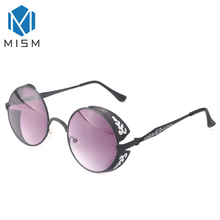 M MISM Gradient Coating Mirrored Sunglasses Men&Women Black Box Round Metal Sun Spectacles 4 Colors UV Protective Goggles