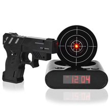 OUYUN Child Gift Laser Shooting Gun Alarm Clock LCD Screen Funny Digital Alarm Clock Gun Wake Up Clock Magic LED Clock Display