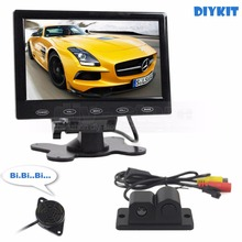 DIYKIT 7 inch Touch Button Ultra-thin Car Monitor + Rear View Car Camera Wireless Parking Radar Sensor Assistance System 2 in 1