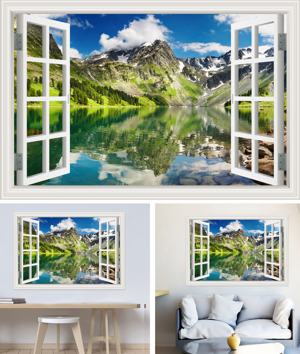 HTB1v kab7fb uJkSndVq6yBkpXad - Modern 3D Large Decal Landscape Wall Sticker Snow Mountain Lake Nature Window Frame View For Living Room