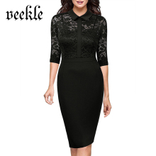 VEEKLE 2017 Autumn Women Elegant Vintage Lace Bodycon Black Office Work Business Dresses Party Mother of Bride See Through Mesh(China)