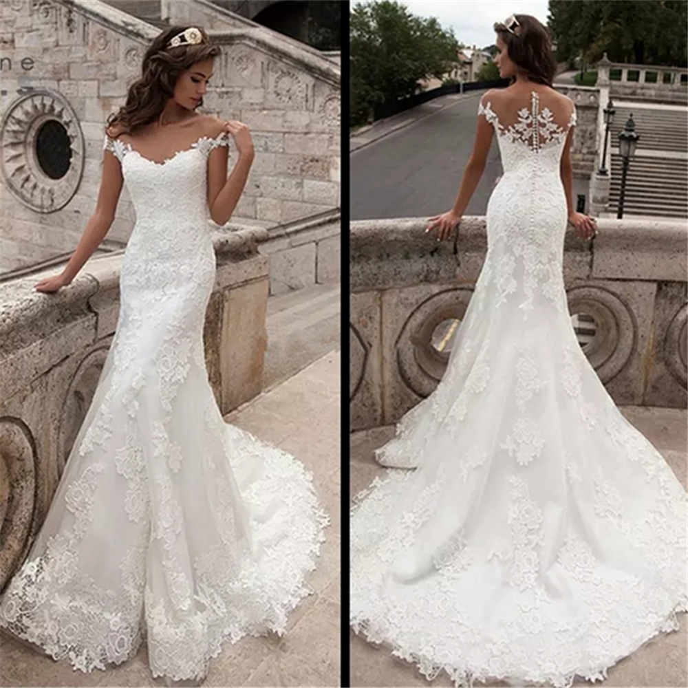 lakshmigown Vintage Sweep Train Mermaid Wedding Dress Full Lace Bridal Gown Sexy Cap Sleeve Bridal Wedding Gown