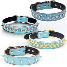 Traumdeutung Blue Large Dogs Collars Spiked Rhinestone Animals Product For Puppy Accessories Collar Cat Pet Necklace Supplies(China)