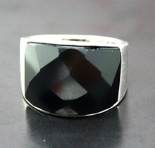 ZCD 322+++VINTAGE NATURAL FACETED BLACK ONYX RING(China)